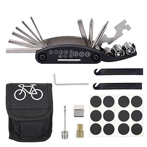 CHALA 20TLG Fahrrad Reparatur Set Fahrradreifen Reparatursatz Fahrradflickzeug Bike Multitool mit Reifenheber Fahrradflicken Nadelventil usw. Mountainbike Zubehör für Unterwegs MTB Rennrad E Bike
