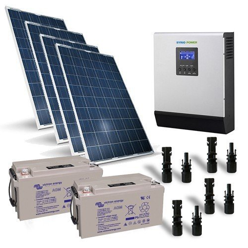 Kit Solar Rifugio Pro 1KW 24V Solar Panel Inversor Regulador Batterie 90Ah