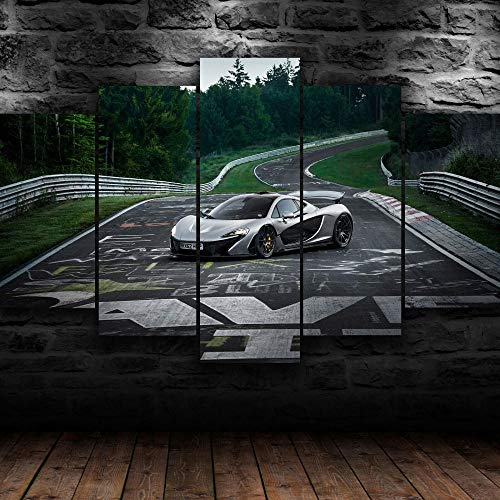 Cuadro Sobre Lienzo 5 Piezas Impresión En Lienzo Ancho: 150Cm, Altura: 100Cm Listo Para Colgar-Coche Mclare Del Circuito De Nurburgring En Un Marco