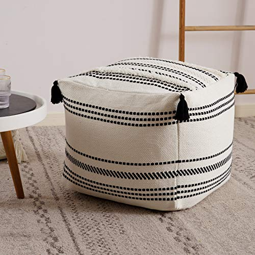 Stripe Morocco Tufted Boho Decorative Unstuffed Pouf - Black Off White Casual Ottoman Pouf Cover with Big Tassels, Neutral Foot Rest/Cushion Cover ONLY for Bedroom Living Room, 18