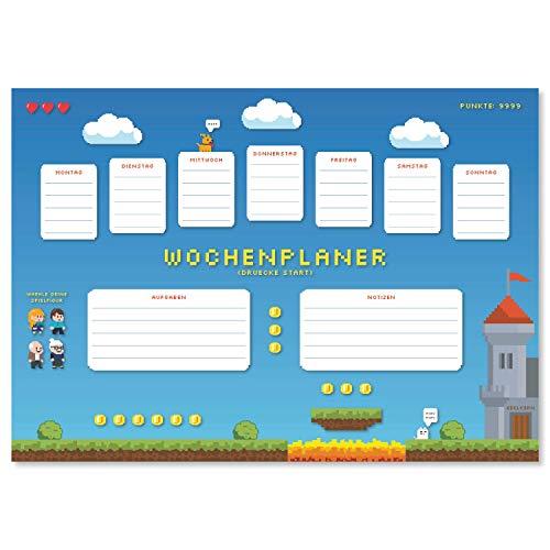 Protector de escritorio 'Pixelabenteuer' de papel, DIN A3, 24 hojas, para niños y adultos, ideal como bloc de notas, organizador, planificador semanal y planificador diario