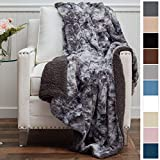 The Connecticut Home Company Luxury Faux Fur with Sherpa Reversible Throw Blanket, Super Soft, Large Wrinkle Resistant Blankets, Warm Hypoallergenic Washable Couch or Bed Throw, 65x50, Gray Tie Dye