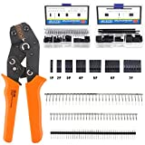 Glarks 486Pcs Wire Crimper Plier with Connector Set, SN-28B <span class='highlight'>Ratchet</span> <span class='highlight'>Crimping</span> Tool with 485Pcs 2.54mm 1 2 3 4 5 6 7 Pin Housing Connector Male Female Pin Header Crimp Connector for AWG28-18 <span class='highlight'>Dupont</span> Pins