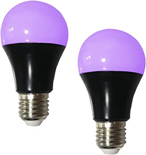 UV LED Black Light Bulb 2 Pack, 8W (60W Equivalent) A19 E26 Blacklight Bulb UVA Level 385-400nm, Glow in Dark for Body Paint Club Party Neon Posters