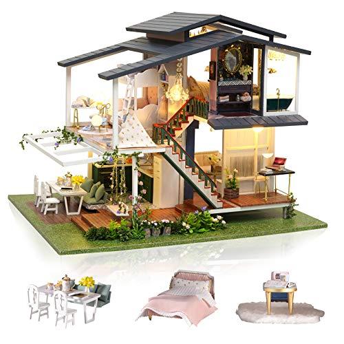 Cuteefun Casa Miniatura para Montar DIY Adultos, Mini Villa Hecha a Mano con Música a Prueba de Polvo y Muebles para Decoración, Regalos Artesanales Creativos para Mujeres (Monet Garden)