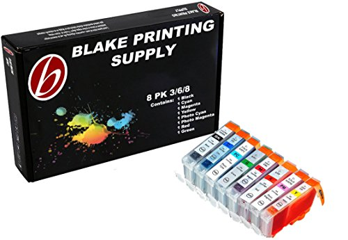 8 Pack Compatible Canon CLI-8 1 Green, 1 Cyan, 1 Photo Cyan, 1 Photo Magenta, 1 Magenta, 1 Red, 1 Yellow, 1 Small Black for use with Canon Pixma Pro 9000, Pixma Pro 9000 Mark II (Mark 2). Ink Cartridges for inkjet printers. CLI-8BK , CLI-8C , CLI-8GR , CLI-8M , CLI-8PC , CLI-8PM , CLI-8R , CLI-8Y Blake Printing Supply