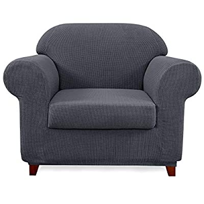 subrtex Sofa Cover 2 Piece Stretch Couch Slipcovers Furniture Protector for Armchair Loveseat Washable Soft Jacquard Fabric Anti Slip, Small, Gray