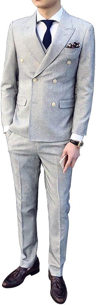 Men's 3-Piece Slim Fit Suit 2 Buttons Grey Blazer Jacket Tux Vest Pants Set