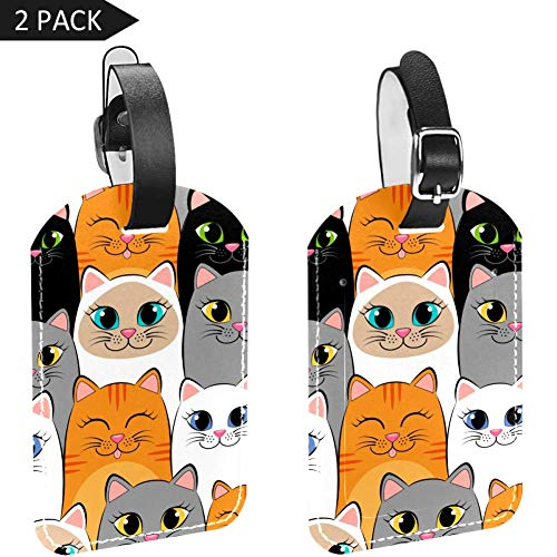Luggage Tags Smiling Cats Leather Travel Suitcase Labels 2 Packs