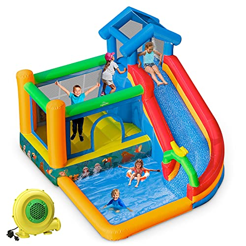 ingbelle Inflatable Bounce House Water Slide with Blower ,4 in 1 Long WaterSlide Bouncer Park w/Climbing Wall,Splashing Pool for Children /Kid's Jumping Castle with Water Slide For Outdoor and Indoor