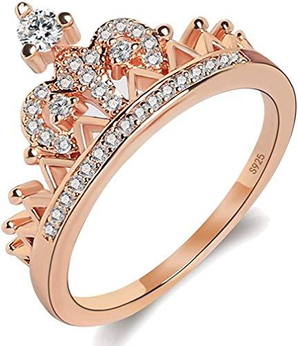 LAMUCH Anillos de Tiara con Corona de Mujer Exquisitos Anillos de Promesa con Diamantes de 18 Quilates chapados en Oro de Princesa minúscula CZ para Ella Talla de EE. UU. 5-10