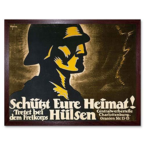 Wee Blue Coo Propaganda Political Military Aftermath War WWI Germany Freikorp Art Print Framed Poster Wall Decor Kunstdruck Poster Wand-Dekor-12X16 Zoll