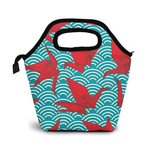 Origami Scales Waves Lunch Bag Impermeable Aislado Lunch Tote Cooler Handbag Contenedor de comida