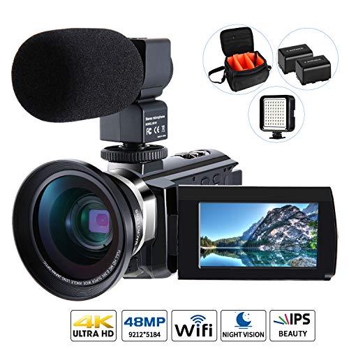 4K Camcorder Video Kamera, Cofunkool Vlogging Camera 48MP Ultra HD WiFi IPS Touchscreen IR-Nachtsicht 16X Digital Zoom für YouTube Kamera mit Mikrofon, LED-Licht, Weitwinkelobjektiv, Schultertasche