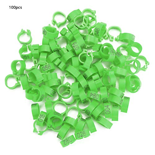 HelloCreate 100PCS/Tas Gevogelte Beenringen 8MM 001-100 Genummerde Plastic Letter Duif Vogelbeen Bands Ringen (rood), Groen