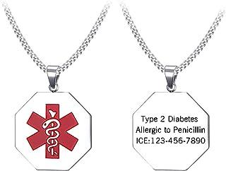Flongo Placa Alerta Medica Personalizada, Collar de Identificación Acero Inoxidable para Alergias, Collar de Hombre Mujer Plateado Medalla Médica