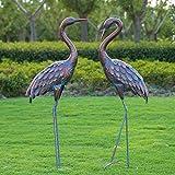 Kircust Garden Crane Statues Patina Heron Decoy, Standing Metal Crane Sculptures Bird Yard...