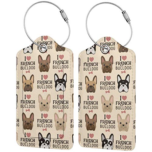 I Love French Bulldog Personalized Leather Luxury Suitcase Tag Set Travel Accessories Luggage Tags