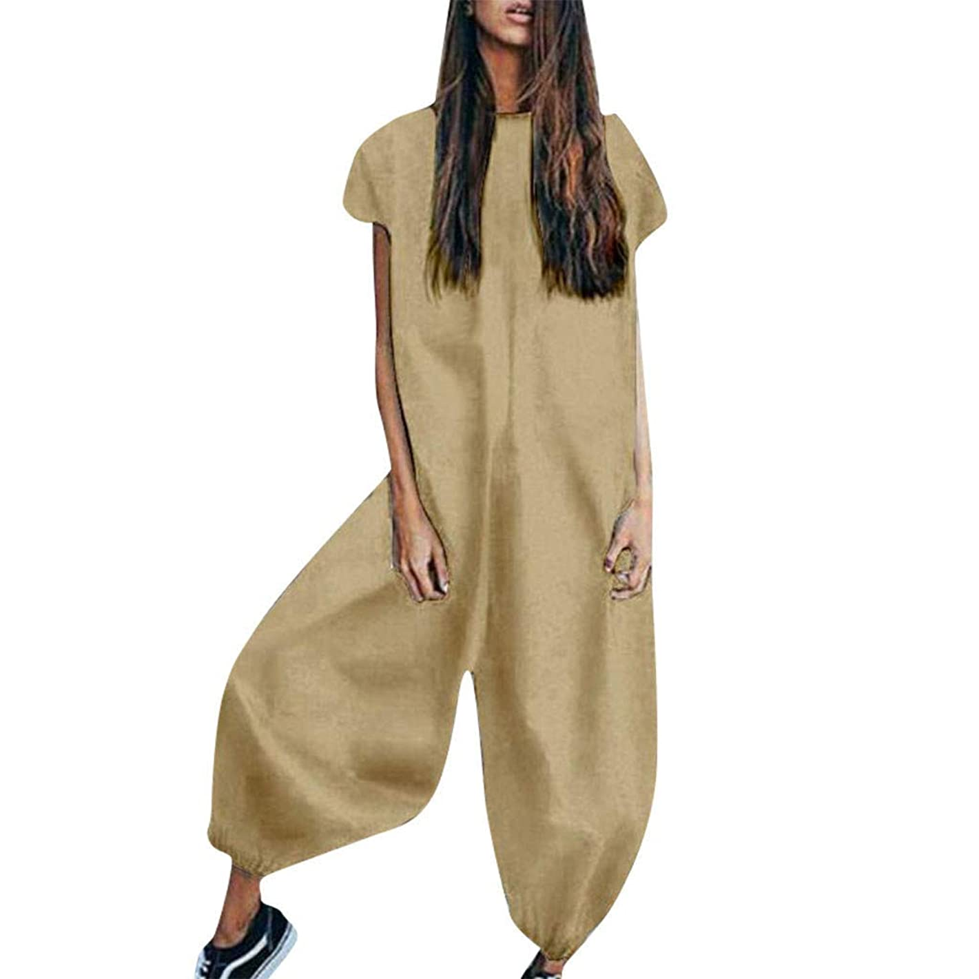 ZQISHMAO Women's Jumpsuits Loose Wide Leg Pants Solid Color Jumpsuit Romper with Pockets