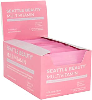 Seattle Gummy Company Beauty Skin, Hair and Nails Multivitamin, Strawberry Flavor; 24 Servings, All Natural, Non GMO, Gluten Free/Biotin, Hydrolyzed Collagen, Antioxidants and Angelica Sinesis.