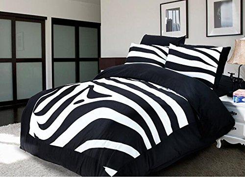 Best to Buy Soft Luxury Youth 100% Polyester Zebra Design Fully Reversible 3-Piece Modern Flower Skull Comforter Set, Full/King/Queen/Single Size, (King)