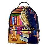 TIZORAX - Mochila de hombro para portátil, diseño de búho en un viejo estante de libros para estudiantes, bolso de mano, ligera