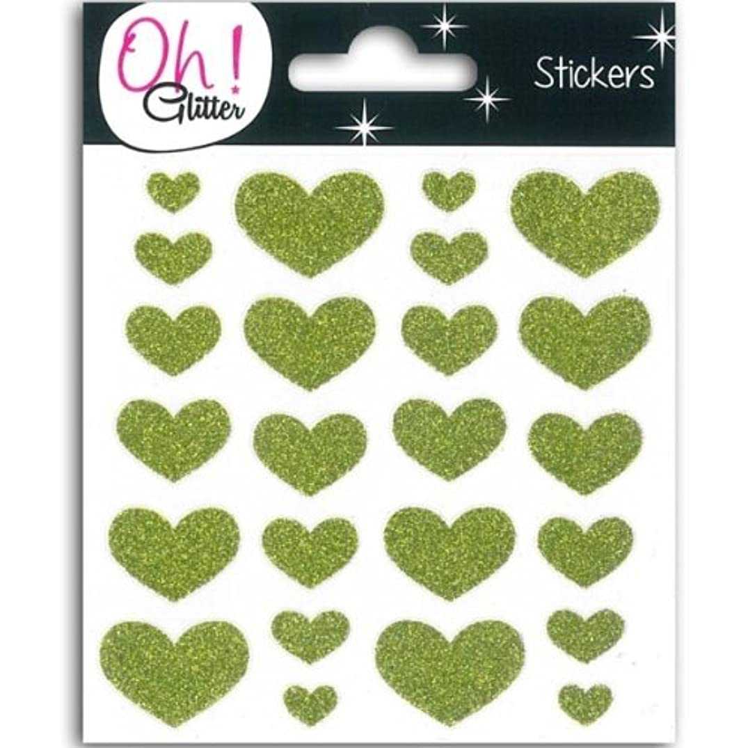 Glitter Hearts Stickers - Green