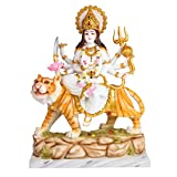 G Looks Maa Durga Devi White Gold Marble Dust Idol Statue   Sherawali MATA Rani   Spiritual Puja Vastu - (35X19X46 cm)