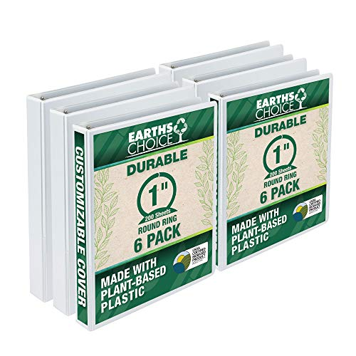 Samsill Earth's Choice Biobased Durable 3 Ring View Binder, 1 Inch Round Ring, Up to 25% Plant Based Plastic, USDA Certified Biobased, Eco-Friendly, Customizable Cover, White, 6 Pack (I08937)