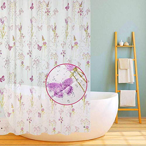 Bathroom Shower Curtains,72'X72' Clear EVA Bathroom Shower Curtains Waterproof No Smell with Rust-Resistant Grommet Hook Bathroom Curtain Liner -Flower