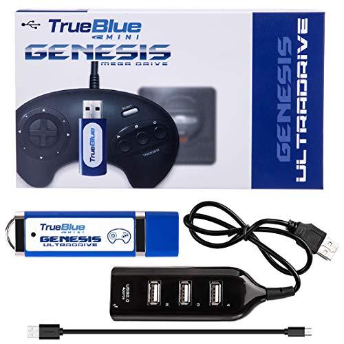 Macium True Blue Mini Ultradrive Pack für Genesis / Mega Drive Mini, USB Adapter Game Enhancer, 813 Spiele insgesamt