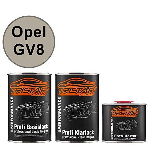 TRISTARcolor Autolack Set Dose spritzfertig für Opel GV8 Sand Beige Perl Metallic Basislack + 2K Klarlack 2,5L