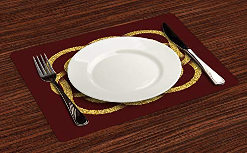Ambesonne Celtic Knot Place Mats Set of 4, Braid Tribal Celtic Knot Inspired Octagonal Artwork Ethnic Illustration, Washable Fabric Placemats for Dining Table, Standard Size, Burgundy Mustard