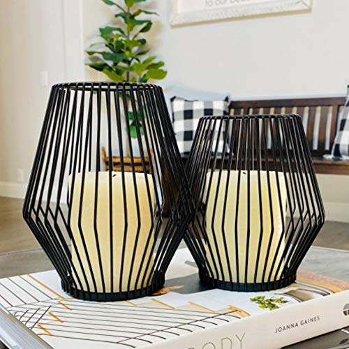 AMENGNI Black Lantern Candle Holders, Set of 2 Metal Decorative Candle Stands for Pillar CandleS, Tealight Candle Holders, Centerpiece for Dining Living Room Table Wedding Home Decor Ornament