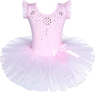 BAOHULU Girls Leotards Ballet Dance Skirted Tutu Dress Short Sleeve Jewels Dancewear