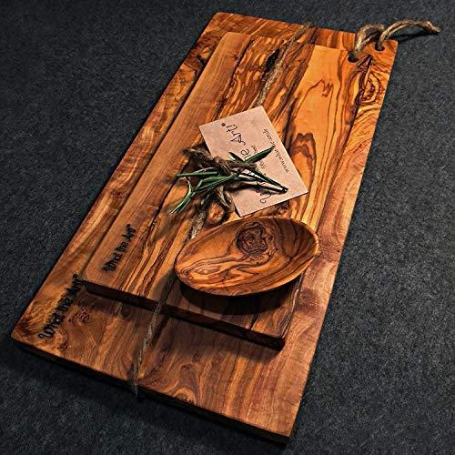 What the Art!® Olive Wood «Karo Set» Gr. L | 2 Olivenholz Schneidebretter inkl. 2 Dip-Schälchen + Geschenk | ca. 30 x 15 cm & 35 x 16 cm | Bretterset - Käsebrett - Servierbrett - Küchenset