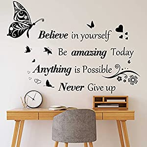 inspirational quotes wall decals large removable motivational saying wall stickers positive lettering word decal butterfly sticker peel and stick for classroom home bedroom family office wall art deco