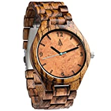 Treehut Men's Zebrawood Maple Burl Dial Wooden Watch with All Zebrawood Wood