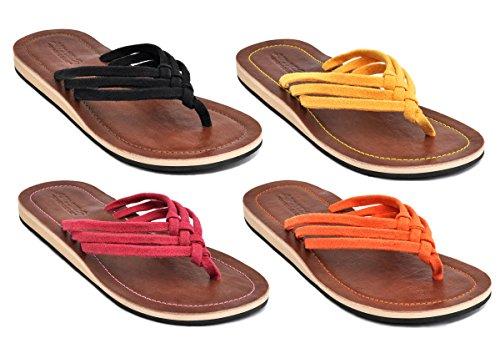 Amboss Damen Sandale Zehentrenner mit Echt Leder Gr.41 Farbe gelb