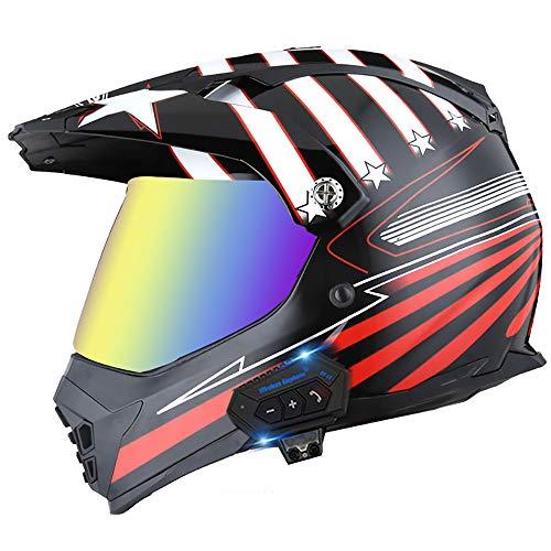 Cascos Bluetooth para motocicleta, casco de choque de cara completa para adultos, casco de doble espejo integrado Radio FM Sistema de comunicación de intercomunicación, A, XL