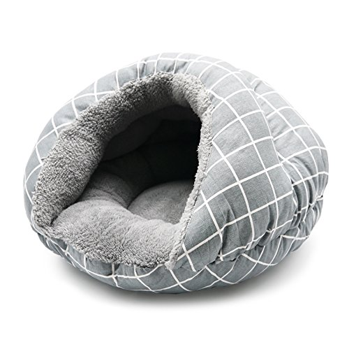 Burger Bed Small Dog Snuggle Bed - Gray Lattice