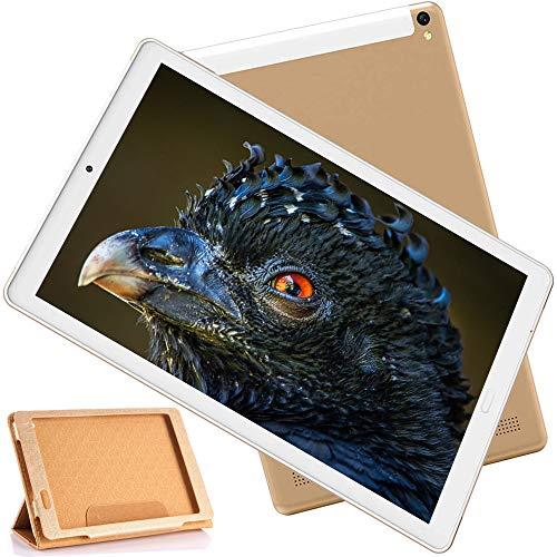 Tablet 10 Pulgadas 4GB RAM 64GB ROM Android 9.0 Pie Ultrar-Rápido Tablets 4G Dual SIM+MicroSD Quad-Core- 7500mAh WiFi Bluetooth GPS Type-C Tablet (5.0+8.0 MP Cámara) Oro