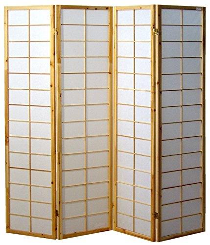 Cinius Paravent - Raumteiler - Holz Trennwand Shoji in Natur Reispapier weiß mit 4 Stuecken. Modell Nanji Natural Farbe