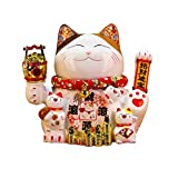 Estatua de decoración de estantería, estatua de cerámica, escultura de gato de la suerte, decoración de escritorio de oficina, mesa, arreglo de regalo, adornos eléctricos Beckon (color : multicolor1)