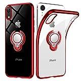 iPhone XR ケース リング 透明 クリア リング付き tpu シリコン スリム 薄型 6.1インチ スマホケース 耐衝撃 ストラップメッキ加工防止 アイフォンXRケース 一体型 人気 携帯カバー レッド