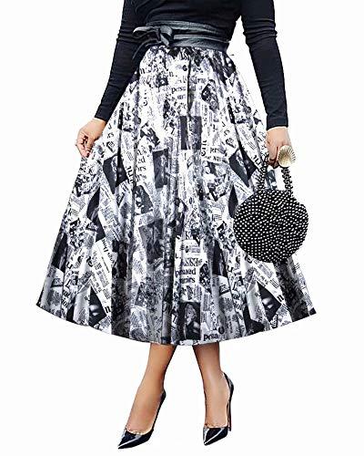 ThusFar Women's Casual Graffiti Pleated Skirts Letter Newspaper Printed Elastic Waist A-Line Swing Long Maxi Skirt Newspaper M