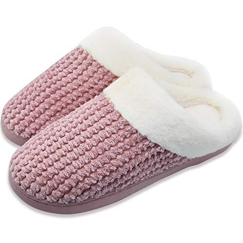 UPhitnis Winter Hausschuhe Damen Herren Memory Foam Pantoffeln Bequem Wärme Plüsch Indoor Schuhe Home rutschfeste Slippers, 40/41 EU , Pink