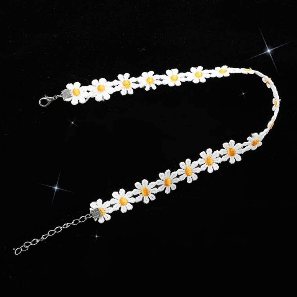 DONGMING Daisy Flower Lace Necklace Simple Short Collar Choker Necklace Women's Jewelry for Christmas Party