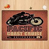 Alfombra de baño Antideslizante,Aventura, Crucero por la Costa del Pacífico, California, Viaje en Motocicleta, Viaje, Dibujado a Apto para Cocina, salón, Ducha (50x80 cm)
