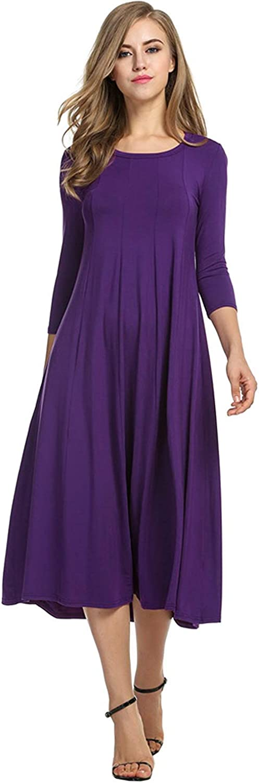 New Women's 3/4 Sleeve Pleated Plain Simple Loose Swing Casual A-line Midi Dress